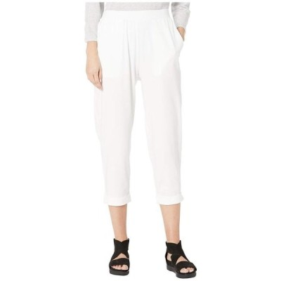エイリーンフィッシャー レディース カジュアルパンツ ボトムス Organic Cotton Stretch Jersey Slouchy Cropped Pants w/ Faux Cuff