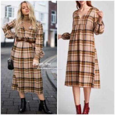 ファッション ドレス NWT ZARA AW17 WOOL LONG MIDI CHECK PRINT DRESS 8451/105_XS S M L