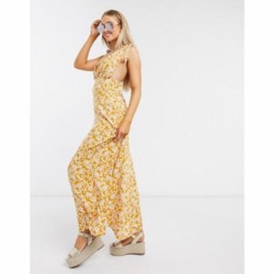 エイソス ASOS DESIGN レディース ワンピース ワンピース・ドレス plunge tie shoulder maxi dress in mustard ditsy floral print マス