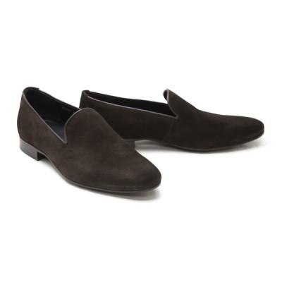 メンズ ローファー カジュアル ブラウン 革靴 本革 クインクラシコ ドレスシューズ 87001dbrs ダークブラウンスエード オペラシューズラバーソール