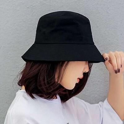 バケット ハット 黒 ブラック 帽子 日除け 男女兼用 韓国 オルチャン