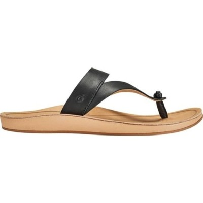 オルカイ サンダル シューズ レディース Kaekae Ko'O Thong Sandal (Women's) Black/Golden Sand Full Grain Leather