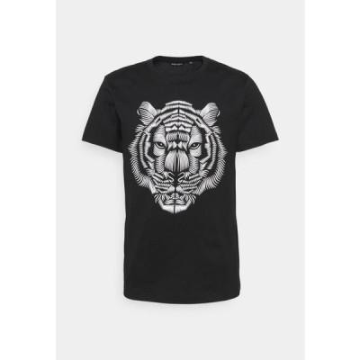 アントニーモラート メンズ ファッション SLIM FIT WITH DOUBLE LAYER - Print T-shirt - nero