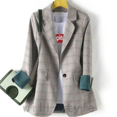 テーラードジャケット韓国オルチャンストリート切替グレンチェック柄配色原宿系きれいめアメカジアウター