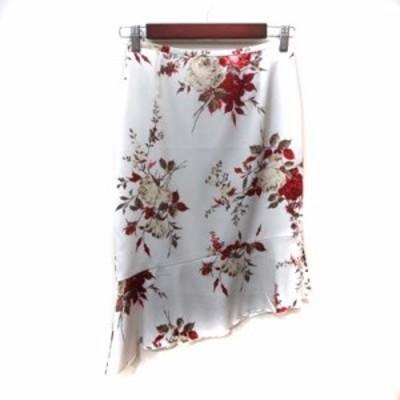 【中古】クードシャンス フレアスカート ひざ丈 アシンメトリー 花柄 36 マルチカラー /YI レディース