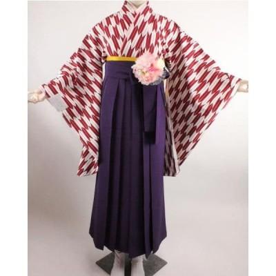 二尺袖着物(単品販売) 矢絣 お仕立て上がり 赤系 S・Fサイズ