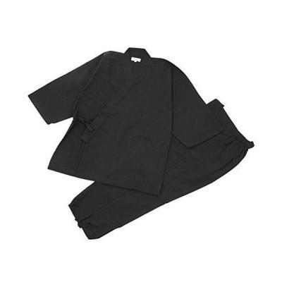 [江戸てん] 作務衣 久留米紬織り 日本製 高級 素材からこだわりました つむぎ メンズ 黒 M