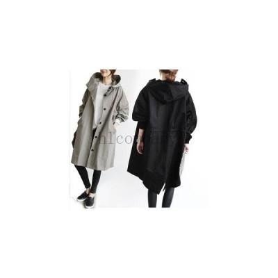 コートレディースダスターコートロングコートトレンチコートフード付き無地薄手ロング丈オーバーコートゆったりジャケットモッズコー
