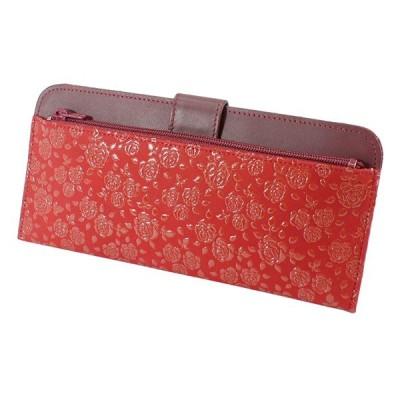 印伝 甲州印伝 印傳屋 長財布 長サイフ 束入れ 2107 ローズ小 赤地×赤漆 花柄 YM01