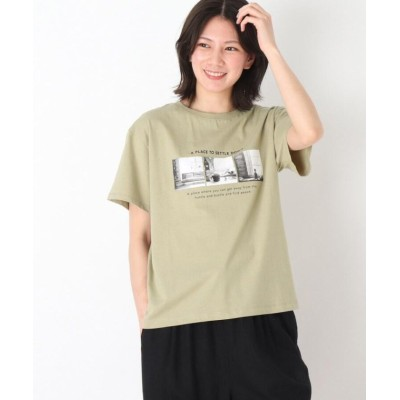(SHOO・LA・RUE/シューラルー)プリント半袖Tシャツ/レディース カーキ(127)