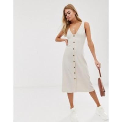 エイソス レディース ワンピース トップス ASOS DESIGN midi jersey knit button through dress Cream