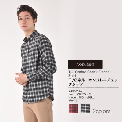 インナーにもアウターにも最適なT/Cオンブレーチェックネルシャツ【Nota Bene(ノータベネ)】オンブレーチェック柄