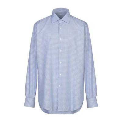 CALIBAN 柄入りシャツ ファッション  メンズファッション  トップス  シャツ、カジュアルシャツ  長袖 パステルブルー