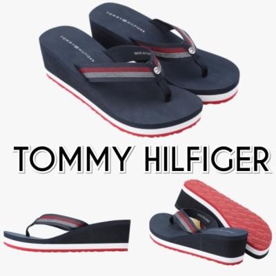 TOMMY HILFIGER トミーヒルフィガー ロゴ 厚底 ビーチサンダル 紺 レディース