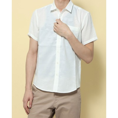 ナノ ユニバース アウトレット NANO UNIVERSE outlet エンボスカモ柄レギュラーシャツ SS (ホワイト)