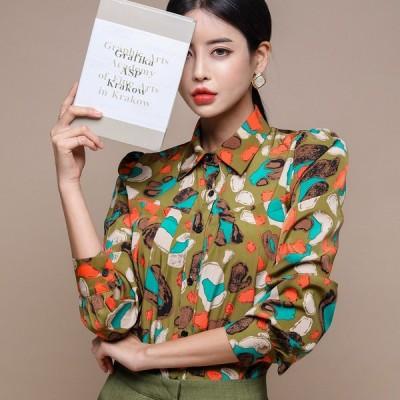 シャツ ブラウス プリント 体型カバー 着痩せ 韓国風 レトロ調