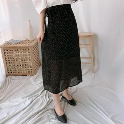 レディース スカート Polka dot chiffon long skirt
