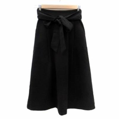 【中古】アルマデザイン Alma Design スカート フレア ロング丈 リボンベルト付き S 黒 ブラック /HO35 レディース