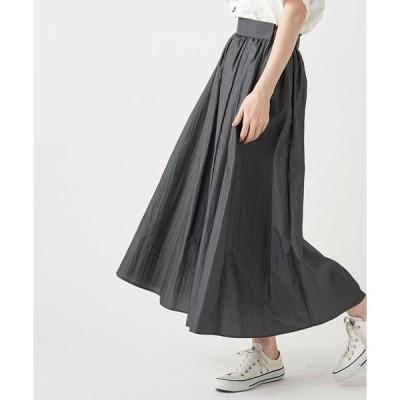 スカート 一枚で存在感抜群 ワッシャーロングスカート (ウエストゴム)