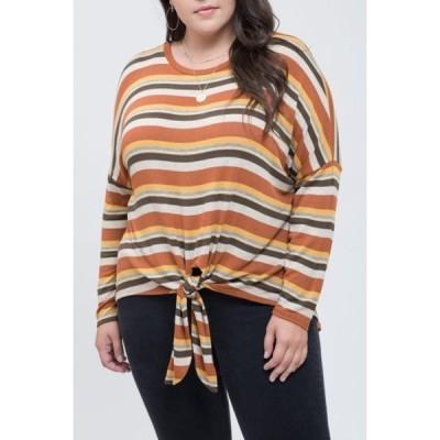 ブルーペッペーブルーペッパー レディース Tシャツ トップス Striped Tie Hem T-Shirt RUST MULTI