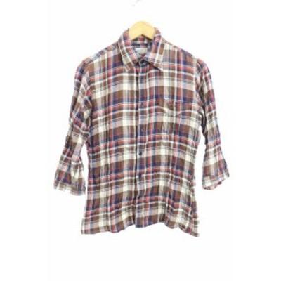 【中古】オアグローリー OR GLORY シャツ ステンカラー チェック 七分袖 茶 ブラウン /M2S レディース