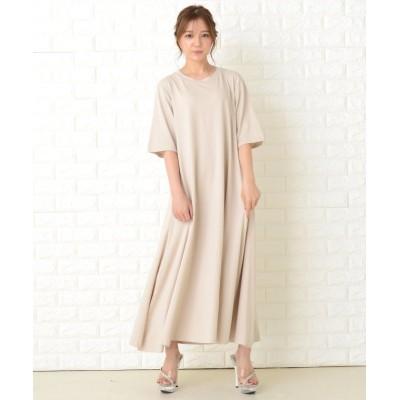 (Lace Ladies/レースレディース)選べる 長袖 半袖ゆったりTシャツロングワンピース/レディース ベージュ系1