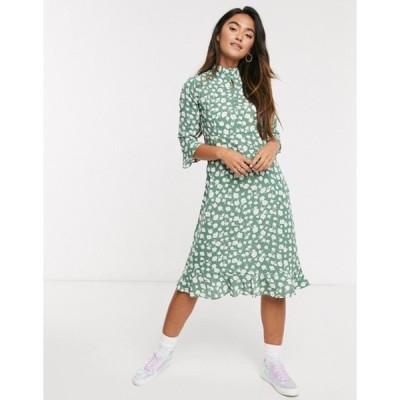 キューイーディーロンドン レディース ワンピース トップス QED London frill hem midi dress in sage floral