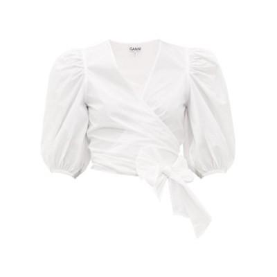 ガニー Ganni レディース トップス Blouson-sleeve cotton-poplin wrap top White