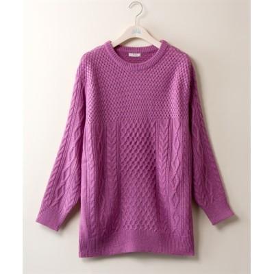 【大きいサイズ】 ケーブル切替ニットチュニック (大きいサイズレディース、ニット・セーター)plus size sweater, テレワーク, 在宅, リモート