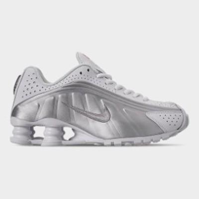 ナイキ メンズ Nike Shox R4 Casual Shoes スニーカー White/White/Metallic Silver/Bright Crimson