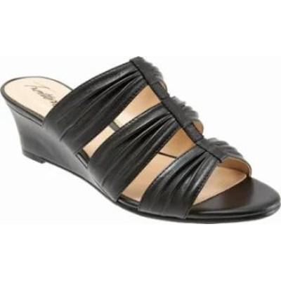 Trotters レディースサンダル Trotters Mia Slide Wedge Sandal Black Leather