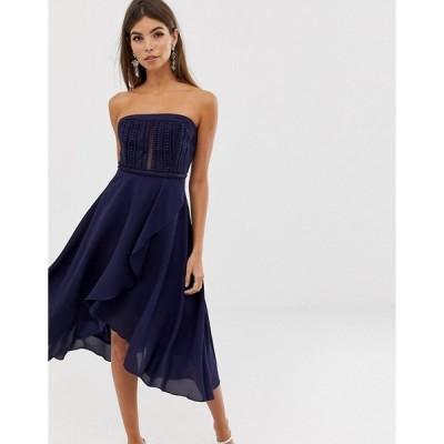 エイソス レディース  ワンピース トップス ASOS ASOS DESIGN bandeau lace bodice soft layered skirt midi dress