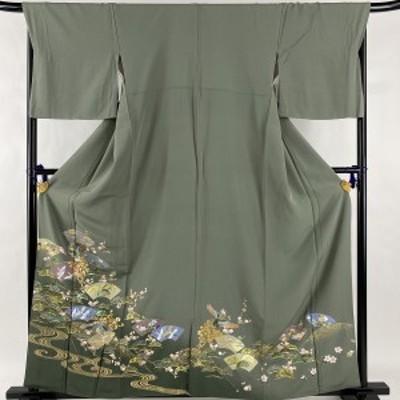 色留袖 秀品 草花 扇面 金彩 金糸 灰緑 袷 身丈160cm 裄丈69cm L 正絹 中古