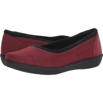 クラークス Clarks レディース スリッポン・フラット シューズ・靴 Ayla Low Burgundy Synthetic Nubuck