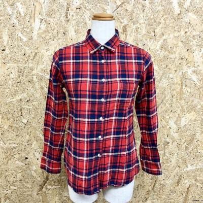 【日本製】 SHIPS シップス - レディース 起毛シャツ ソフトネル チェック柄 胸ポケット 長袖 綿100% オレンジレッド系×ネイビーなど