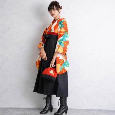 レンタル 袴セット 卒業式 2尺袖着物 袴16点セット はいから矢絣 うたたね