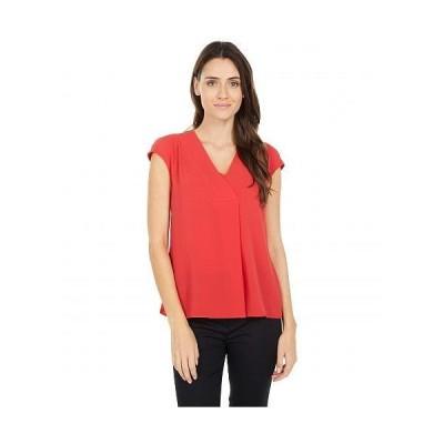 Vince Camuto ヴィンスカムート レディース 女性用 ファッション ブラウス Extend Shoulder V-Neck Knit Back Blouse - Spiced Red