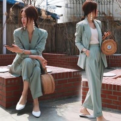 テーラードジャケット セットアップ レディース セットアップ ジャケット 韓国 パーティー パンツスーツ パンツスーツ 入園式 テーパード