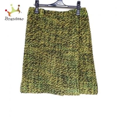 プラダ PRADA 巻きスカート サイズ40 M レディース 美品 - ライトグリーン×黒×イエロー ひざ丈 新着 20210305