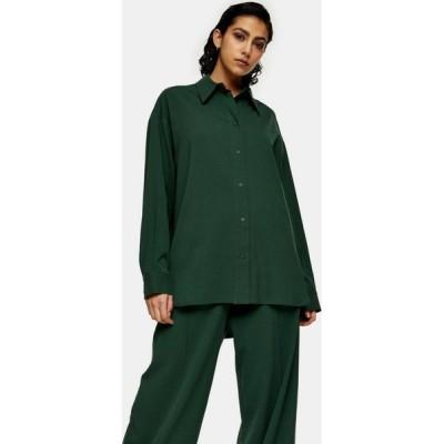 トップショップ Topshop レディース ブラウス・シャツ トップス Green Oversized Shirt by Boutique GREEN