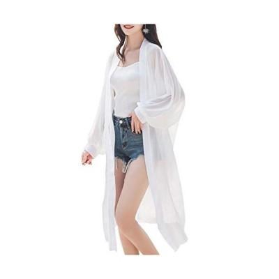 [ネコート] NC190WH2XL ロングカーディガン シフォン ロング丈 シースルー 透け感 無地 シンプル 冷房対策 羽織り 長袖 薄手