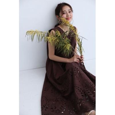 【ジャスグリッティー】 裾刺繍Aラインワンピース レディース ブラウン 2 JUSGLITTY