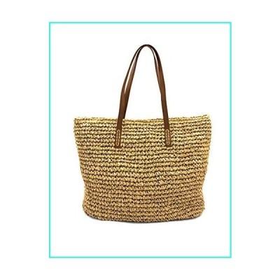 【新品】Romfor women Large Straw Bag Handmade Summer Beach Tote Bag Magnet Clasp Shoulder Bag(並行輸入品)