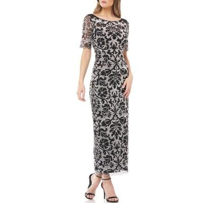 ジェイエスコレクションズ レディース ワンピース トップス V-Back Reversed Embroidered Mesh Elbow Sleeve Tea Length Gown Ivory/Black