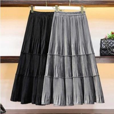 [BIGSALE!最大40%OFF] 予約商品 大きいサイズ レディース プリーツスカート ロング ティアード ウエストゴムオーバーサイズ 韓国ファッ