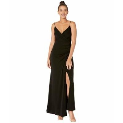 ニコルミラー レディース ワンピース トップス Stretchy Matte Jersey Drape Gown with Slit Black