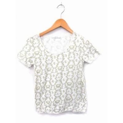 【中古】シュカ Shuca Tシャツ カットソー 総柄 レース 丸首 半袖 コットン 綿 M ホワイト 白 /FT18 レディース
