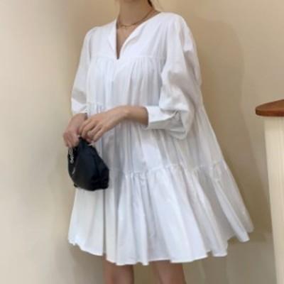 ティアードワンピース 韓国 ファッション レディース シャツワンピース シャツワンピ フレア リボン 長袖 ゆったり Vネック 大人可愛い