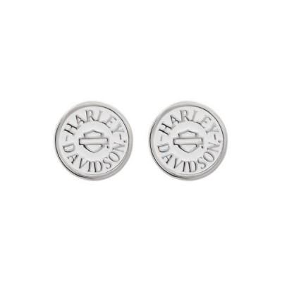イヤリング ハーレーダビッドソン Harley-Davidson Women's Round White Colored Enameled Post Earrings HDE0473