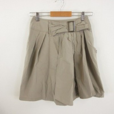【中古】ストロベリーフィールズ STRAWBERRY-FIELDS 膝丈スカート フレア ベージュ *E114 レディース